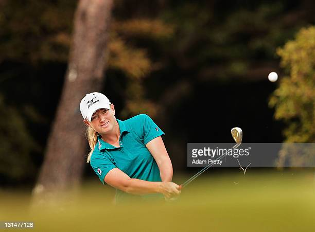 Stacy Lewis of the USA plays a shot during the second round of the Mizuno Classic at Kintetsu Kashikojima Country Club on November 5 2011 in Shima...