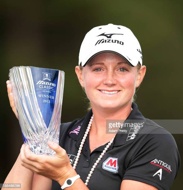 Stacy Lewis of the USA poses with the trophy after victory in the Mizuno Classic at Kintetsu Kashikojima Country Club on November 4 2012 in Shima...