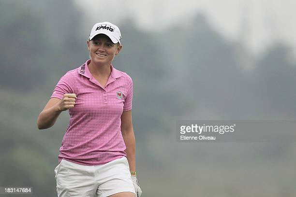 Stacy Lewis of United States celebrates after making a birdie on the 17th tee during the third round of the Reignwood LPGA Classic at Pine Valley...