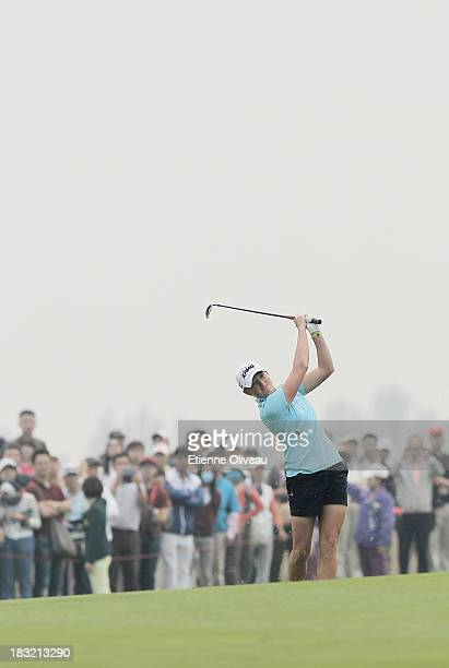 Stacy Lewis of United States hits a fairway shot during the final round of the Reignwood LPGA Classic at Pine Valley Golf Club on October 6 2013 in...