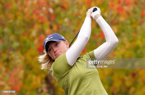 Stacy Lewis of United States plays a shot on the 2nd hole during the final round of the Mizuno Classic at Kintetsu Kashikojima Country Club on...