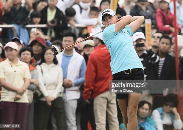 Stacy Lewis of United States plays a tee shot during the final round of the Reignwood LPGA Classic at Pine Valley Golf Club on October 6 2013 in...