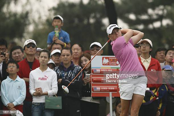 Stacy Lewis of United States plays a tee shot during the third round of the Reignwood LPGA Classic at Pine Valley Golf Club on October 5 2013 in...