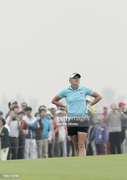 Stacy Lewis of United States reacts to a hit during the final round of the Reignwood LPGA Classic at Pine Valley Golf Club on October 6 2013 in...
