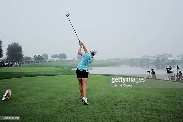 Stacy Lewis of United States tees off on the 18th tee during the final round of the Reignwood LPGA Classic at Pine Valley Golf Club on October 6 2013...
