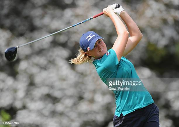 Stacy Lewis of USA in action during the second round of the Evian Masters at the Evian Masters golf club on July 22 2011 in EvianlesBains France