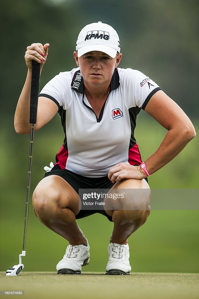 Stacy Lewis of USA lines up a put on the 2nd green during day three of the Honda LPGA Thailand at Siam Country Club on February 23, 2013 in Chon Buri, Thailand.