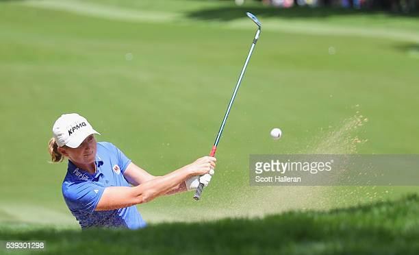 Stacy Lewis plays a bunker shot on the fourth hole during the second round of the KPMG Women's PGA Championship at the Sahalee Country Club on June...