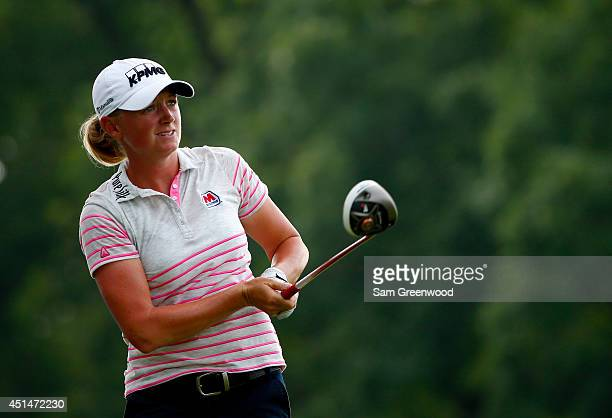 Stacy Lewis plays a shot on the 16th hole during the final round of the Walmart NW Arkansas Championship Presented by PG at Pinnacle Country Club on...