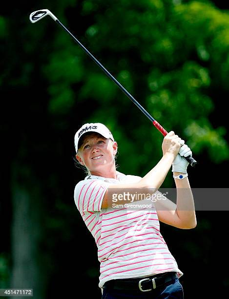 Stacy Lewis plays a shot on the third hole during the final round of the Walmart NW Arkansas Championship Presented by PG at Pinnacle Country Club on...