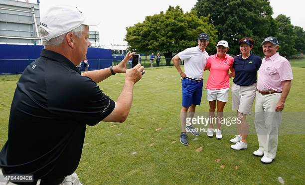 Stacy Lewis poses for a photo alongside Dan Hicks from NBC Sports Muffet McGraw from the University of Notre Dame and John Veihmeyer Chairman of KPMG...