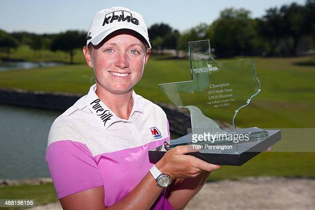 Stacy Lewis poses with the trophy after winning the Final Round of the North Texas LPGA Shootout Presented by JTBC at the Las Colinas Country Club on...