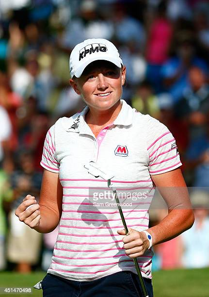 Stacy Lewis reacts after making a birdie on the 18th hole during the final round of the Walmart NW Arkansas Championship Presented by PG at Pinnacle...