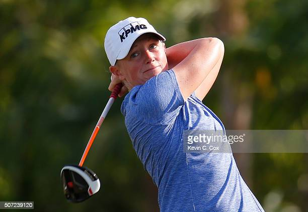 Stacy Lewis tees off the fourth hole during the first round of the Pure Silk Bahamas LPGA Classic at the Ocean Club Golf Course on January 28 2016 in...