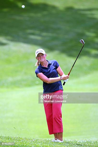 Stacy Lewis watches a chip shot during the first round of the PG Beauty NW Arkansas Championship presented by John Q Hammons on July 4 2008 at...