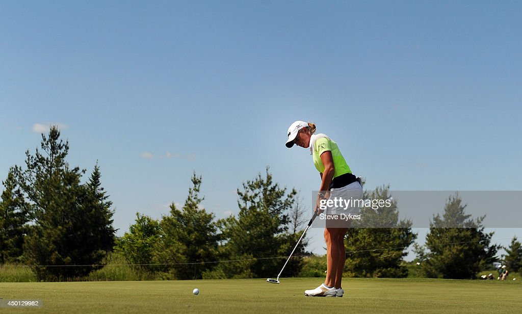 Stacy Lewis watches her putt on the fourth hole during the first round of the Manulife Financial LPGA Classic at the Grey Silo Golf Course on June 5, 2014 in Waterloo, Ontario, Canada.