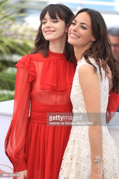Stacy Martin and Berenice Bejo attend the 'Le Redoutable ' Photocall during the 70th annual Cannes Film Festival at Palais des Festivals on May 21...