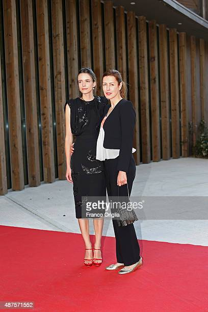 Stacy Martin and Gina McKee attend a premiere for 'Taj Mahal' during the 72nd Venice Film Festival at Sala Darsena on September 10 2015 in Venice...