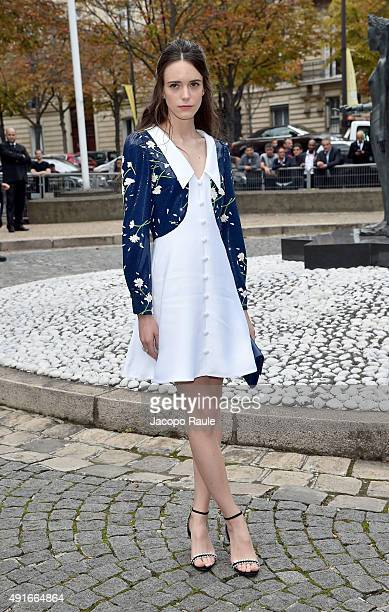 Stacy Martin arrives at the Miu Miu Fashion Show during the Paris Fashion Week S/S 2016 Day Nine on October 7 2015 in Paris France
