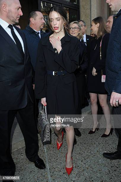 Stacy Martin arrives at the Miu Miu show as part of the Paris Fashion Week Womenswear Fall/Winter 20142015 on March 5 2014 in Paris France