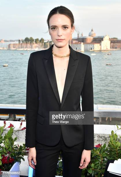 """Stacy Martin attends the """"All About Mujeres"""" Cocktail Party at the 76th Venice Film Festival on the Hotel Danieli Terrace on August 27, 2019 in..."""