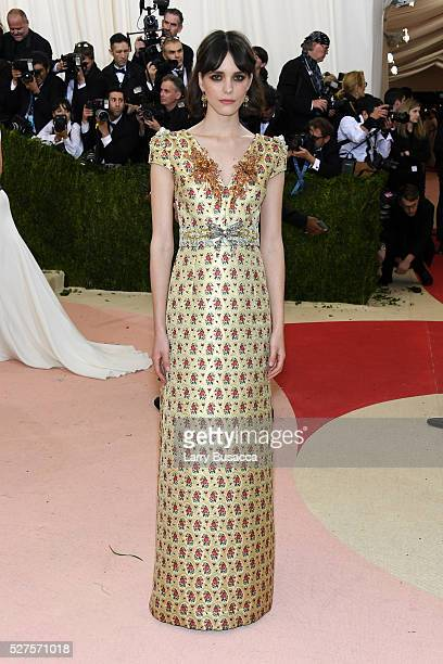 Stacy Martin attends the Manus x Machina Fashion In An Age Of Technology Costume Institute Gala at Metropolitan Museum of Art on May 2 2016 in New...