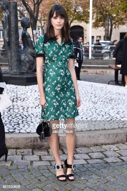 Stacy Martin is seen arriving at Miu Miu show during Paris Fashion Week Womenswear Spring/Summer 2018 on October 3 2017 in Paris France