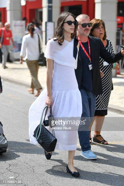 Stacy Martin is seen arriving at the 76th Venice Film Festival on August 29, 2019 in Venice, Italy.