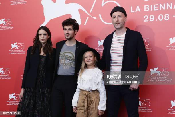 Stacy Martin Vincent Lacoste Isaure Multrier and Mikhael Hers attend the Amanda photocall during the 75th Venice Film Festival at Sala Casino on...