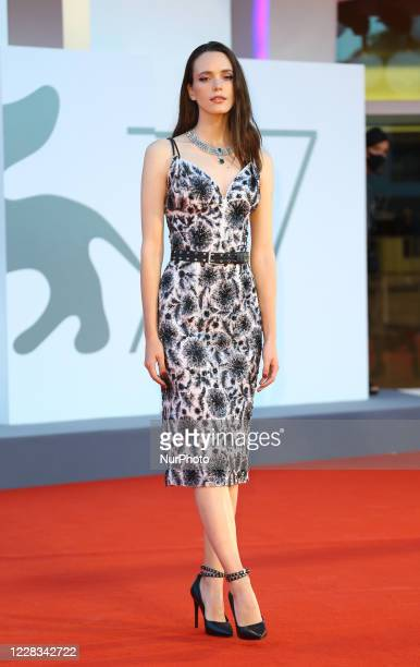 """Stacy Martin walks the red carpet ahead of the movie """"Amants"""" at the 77th Venice Film Festival at on September 03, 2020 in Venice, Italy."""