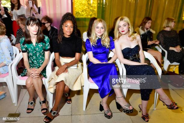 Stacy MartinNaomie HarrisDakota Fanning and Elle Fanning attend the Miu Miu show as part of the Paris Fashion Week Womenswear Spring/Summer 2018 on...