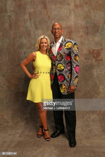 Stacy Sager and Monty Williams poses for a portrait after Monty receivied the Sager Strong Award at the NBA Awards Show on June 26 2017 at Basketball...