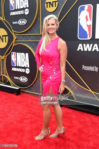 Stacy Sager poses for a photo on the red carpet before the 2019 NBA Awards Show on June 24 2019 at Barker Hangar in Santa Monica California NOTE TO...
