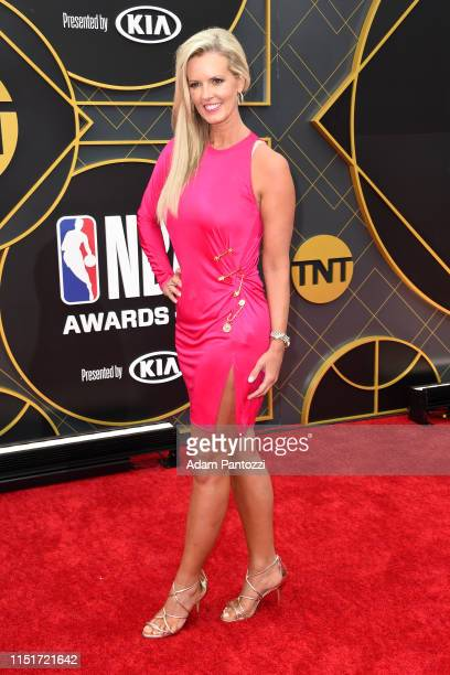 Stacy Sager poses for a photograph on the red carpet before the 2019 NBA Awards Show on June 24 2019 at Barker Hangar in Santa Monica California NOTE...