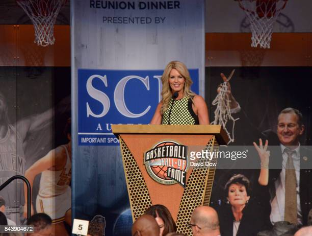 Stacy Sager speaks on behalf of Craig Sager after winning the Electronic Media Award at the BunnGowdy Awards Dinner as part of the 2017 Basketball...