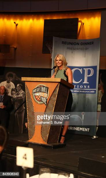 Stacy Sager speaks on behalf of her husband Craig Sager after winning the Electronic Media Award at the BunnGowdy Awards Dinner as part of the 2017...