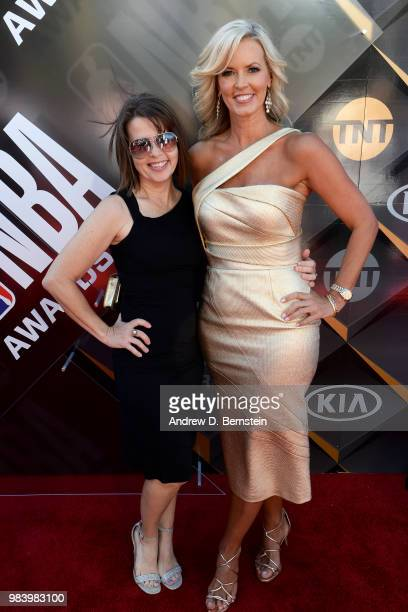 Stacy Sager walks the red carpet before the 2018 NBA Awards Show on June 25 2018 at The Barkar Hangar in Santa Monica California NOTE TO USER User...