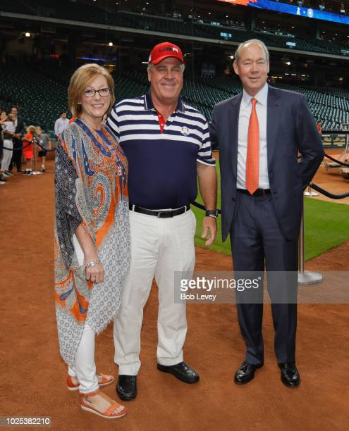 Stacy Sutton former Ryder Cup captain Hal Sutton and Houston Astros owner Jim Crane during the Ryder Cup Trophy Tour at Minute Maid Park on August 30...