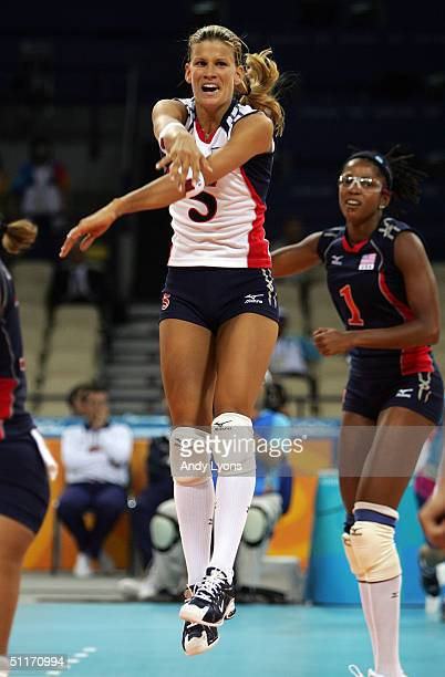 Stacy Sykora of the United States celebrates against China in the women's indoor Volleyball preliminary match on August 14 2004 during the Athens...