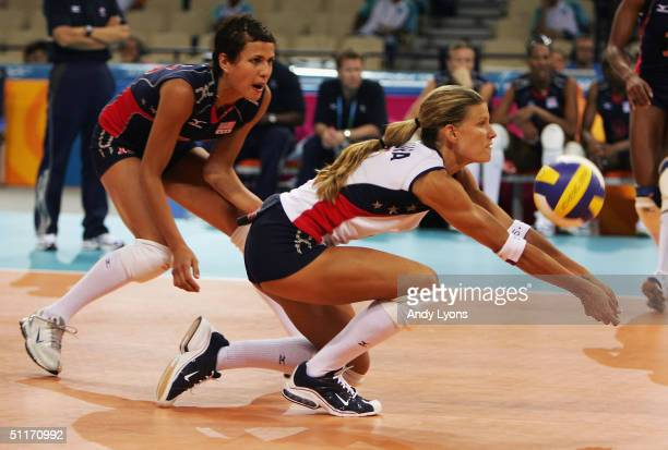 Stacy Sykora of the United States hits a return against China in the women's indoor Volleyball preliminary match on August 14 2004 during the Athens...