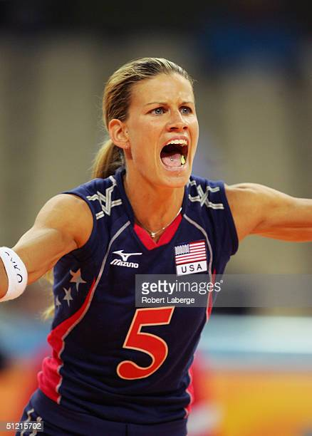 Stacy Sykora of the USA plays in the women's indoor Volleyball preliminary match against Russia on August 20 2004 during the Athens 2004 Summer...