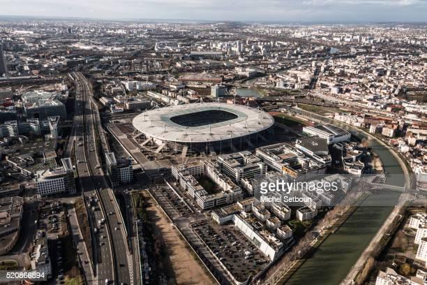stade de france aerial view and saint denis area suburb of paris - seine st denis stock pictures, royalty-free photos & images