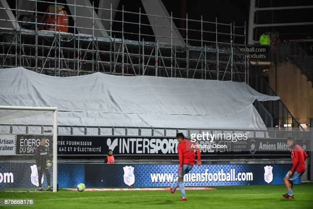 Stade de la licorne under construction during the Ligue 1 match between Amiens SC and AS Monaco at Stade de la Licorne on November 17 2017 in Amiens