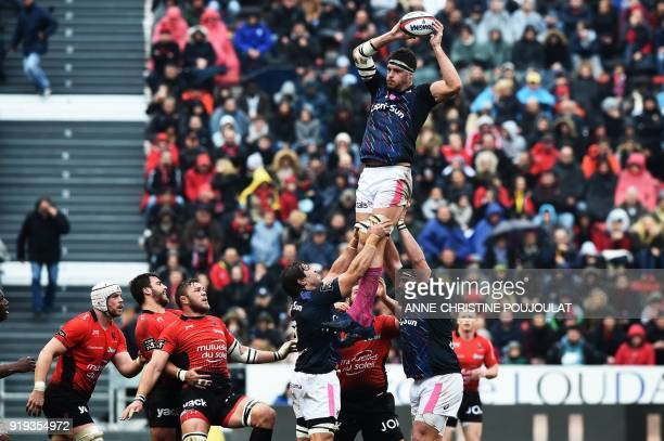 Stade Français' Alexandre Flanquart catches the ball in a line out during the French Top 14 rugby union match Toulon vs Stade Français at The Mayol...