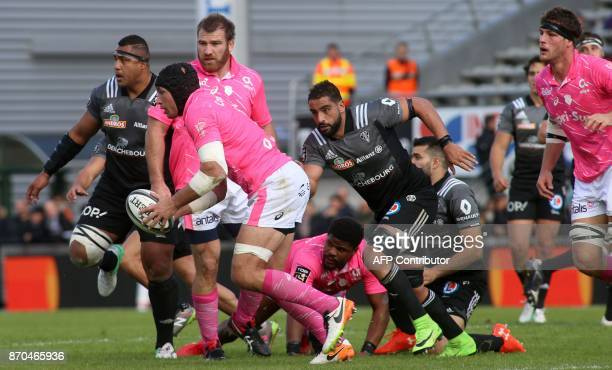Stade Français's Italian number eight Sergio Parisse runs with the ball during the French Top14 rugby union match CA Brive versus Stade Français at...