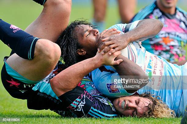 Stade Francais' Mirco Bergamasco and Bourgoin's Albert Vulivuli during the French Top 14 rugby match Stade Francais vs Bourgoin at the Jean Bouin...