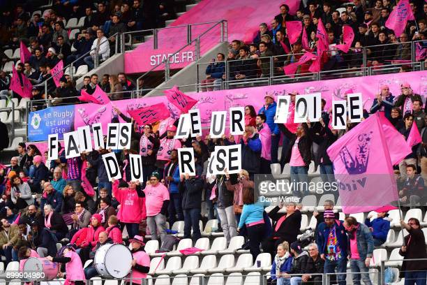 Stade Francais Paris fans during the Top 14 match between Stade Francais and Bordeaux Begles at Stade Jean Bouin on December 30 2017 in Paris France