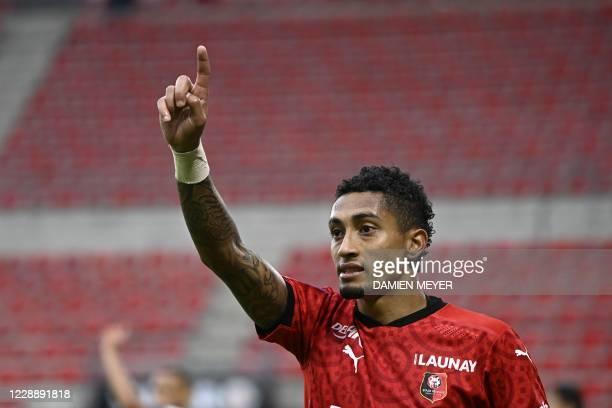 Stade Rennais Brazilian striker Raphinha gestures during the French L1 football match between Stade Rennais Football Club and Stade de Reims at the...