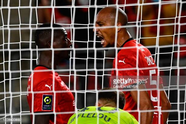 Stade Rennais' French midfielder Steven Nzonzi celebrates after scoring a goal during the French L1 football match between Stade Rennais and Monaco...