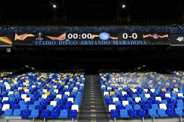 Stadio Diego Armando Maradona sign is seen inside the stadium prior to the UEFA Europa League Group F stage match between SSC Napoli and Real...